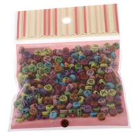 Alphabet Acryl Kralen gemengd   effen kleur 7x3mm 100x170mm Gat:Ca 1mm Ca 240pC's/Bag Verkocht door Bag