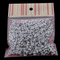 Alphabet Acryl Kralen Rond plat gemengde patroon   effen kleur 7x3mm 100x170mm Gat:Ca 1mm Ca 240pC's/Bag Verkocht door Bag