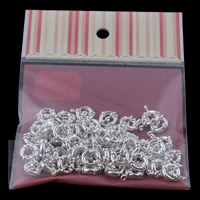 Brass Spring Ring Clasp with OPP Bag silver color plated single-strand nickel lead   cadmium free 23x11x4mm 100x170mm Hole:Approx 2mm 50PCs/Bag