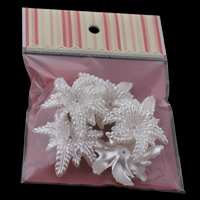 ABS Plastic Bead Cap, with OPP Bag, Flower, imitation pearl, white, 46x56x12mm, 100x170mm, Hole:Approx 2mm, 5PCs/Bag, Sold By Bag