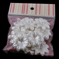 ABS Plastic Bead Cap with OPP Bag Flower imitation pearl white 38x7mm 100x170mm Hole:Approx 1mm 20PCs/Bag