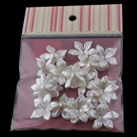 ABS Plastic Bead Cap with OPP Bag Flower imitation pearl white 28x8mm 100x170mm Hole:Approx 1mm 20PCs/Bag