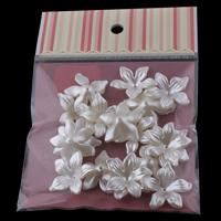 ABS-пластик колпачок, с OPP, Форма цветка, Имитация жемчуга, белый, 28x8mm, 100x170mm, отверстие:Приблизительно 1mm, 20ПК/сумка, продается сумка