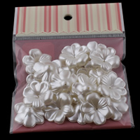 ABS Plastic Bead Cap, Flower, imitation pearl, white, 29x9mm, Hole:Approx 1mm, 20PCs/Bag, Sold By Bag