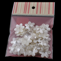 ABS Plastic Bead Cap, with OPP Bag, Flower, imitation pearl, white, 26x6mm, 100x170mm, Hole:Approx 1mm, 30PCs/Bag, Sold By Bag