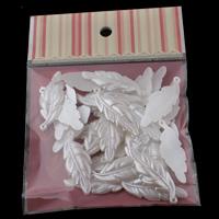 Tworzywa ABS perła Wisiorek, Liść, biały, 16x44x3mm, 100x170mm, otwór:około 1mm, 30komputery/torba, sprzedane przez torba