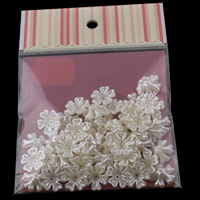 ABS Plastic Bead Cap with OPP Bag Flower imitation pearl white 17x6mm 100x170mm Hole:Approx 1mm 50PCs/Bag