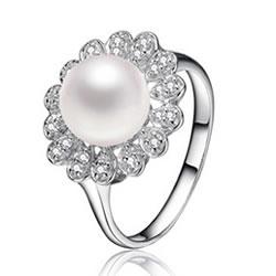Anello da dito con perla d'acquadolce
