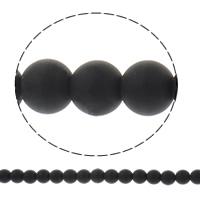الاكريليك الخرز متجمد, أكريليك, جولة, بلون, أسود, 8mm, حفرة:تقريبا 1.5mm, تقريبا 51أجهزة الكمبيوتر/حبلا, تباع لكل تقريبا 15.3 بوصة حبلا