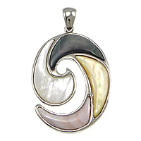 Natural Mosaic Shell Pendants, Brass, with Black Shell & Pink Shell & Yellow Shell & White Shell, Flat Oval, platinum color plated, nickel, lead & cadmium free, 30x42x3.50mm, Hole:Approx 5x7mm, 5PCs/Lot, Sold By Lot