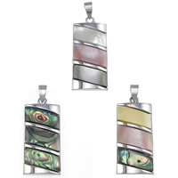 Natural Mosaic Shell Pendants, Brass, with Shell, Rectangle, platinum color plated, different materials for choice, nickel, lead & cadmium free, 18x39x4mm, Hole:Approx 5x7mm, 10PCs/Lot, Sold By Lot