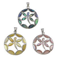 Shell Pendants, Brass, with Shell, Flat Round, platinum color plated, different materials for choice, nickel, lead & cadmium free, 29x33x6mm, Hole:Approx 4x6mm, 5PCs/Lot, Sold By Lot