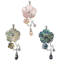 Shell Pendants, Brass, with Shell, Flower, platinum color plated, different materials for choice & with pearl, nickel, lead & cadmium free, 73mm, 34x55x7mm, 6x10x5mm, 7x20mm, Hole:Approx 5x7mm, Sold By PC