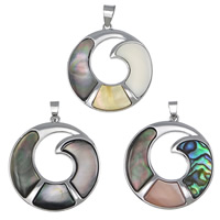 Natural Mosaic Shell Pendants, Brass, with Shell, Donut, platinum color plated, different materials for choice, nickel, lead & cadmium free, 39x43x4mm, Hole:Approx 5x10mm, 5PCs/Lot, Sold By Lot