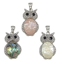 Shell Pendants, Brass, with Shell, Owl, platinum color plated, different materials for choice & with rhinestone, nickel, lead & cadmium free, 25x42x6mm, Hole:Approx 6x10mm, 5PCs/Lot, Sold By Lot