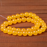 Yellow Calcedony Beads, Round, different size for choice, Sold By Lot