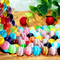 Cats Eye Jewelry Beads Round multi-colored