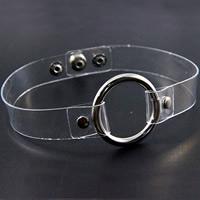 PVC-пластик Колье колье, с цинковый сплав, Плоская круглая форма, Платиновое покрытие платиновым цвет, панк-стиль & регулируемый, не содержит никель, свинец, 19mm, длина:Приблизительно 15 дюймовый, 10пряди/Лот, продается Лот