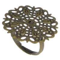 Brass Filigree Ring Base Flower antique bronze color plated nickel lead   cadmium free 25mm US Ring Size:7 50PCs/Lot