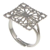 Brass Filigree Ring Base Rhombus platinum color plated nickel lead   cadmium free 16mm US Ring Size:7 100PCs/Lot