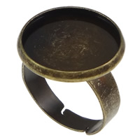 Brass Bezel Ring Base, Flat Round, antique bronze color plated, nickel, lead & cadmium free, 18mm, Hole:Approx 2mm, Inner Diameter:Approx 16mm, US Ring Size:7, 100PCs/Lot, Sold By Lot
