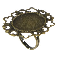 Brass Bezel Ring Base, Flower, antique bronze color plated, nickel, lead & cadmium free, 32mm, Hole:Approx 2mm, Inner Diameter:Approx 15x20mm, US Ring Size:7, 50PCs/Lot, Sold By Lot