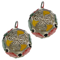 Hollow Brass Pendants, Round, platinum color plated, enamel, nickel, lead & cadmium free, 22x24mm, Hole:Approx 5mm, 50PCs/Lot, Sold By Lot