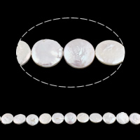 Coin Cultured Freshwater Pearl Beads, white, Grade AA, 14mm, Hole:Approx 0.8mm, Sold Per 14.5 Inch Strand
