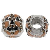 RVS European Beads, Roestvrij staal, Drum, zonder troll & glazuur & met strass, 10x10x11mm, Gat:Ca 5mm, Verkocht door PC