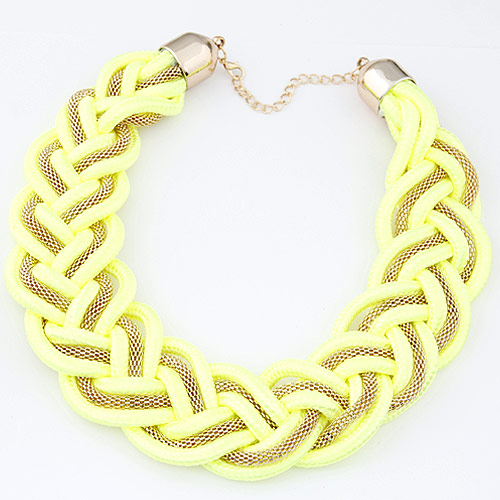 Сеть Тканые ожерелье, цинковый сплав, с Нейлоновый шнурок, плакирован золотом, Флуоресцентная зеленая, не содержит свинец и кадмий, 35mm, Продан через Приблизительно 15.75 дюймовый Strand