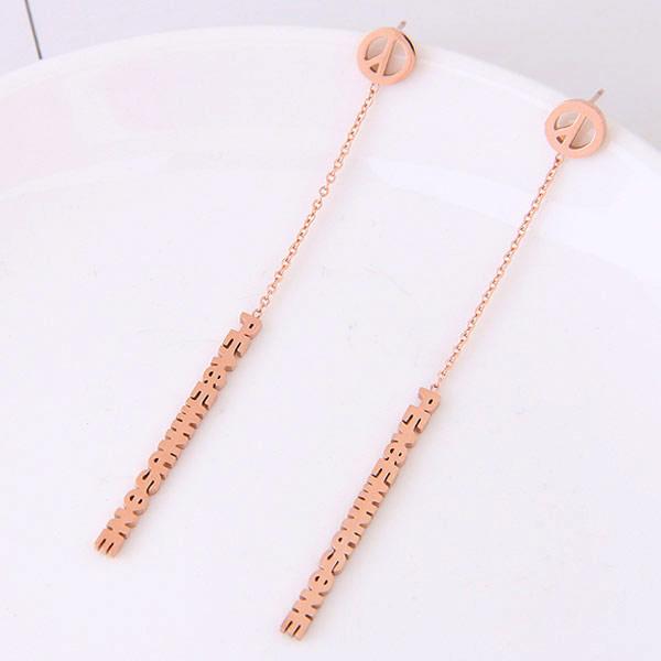 титан Сережка, нержавеющая сталь гвоздик, плакированный цветом розового золота, 70x3mm, продается PC