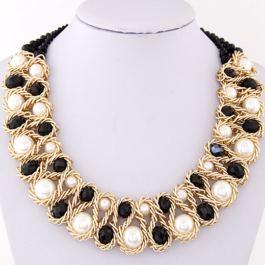 Crystal Zinc Alloy Necklace, with ABS Plastic Pearl & Crystal, gold color plated, graduated beads & faceted, black, lead & cadmium free, 400x160x32mm, Sold Per Approx 15.75 Inch Strand