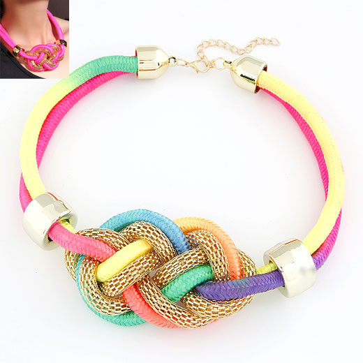 Nylon Cord Necklace, with rhinestone zinc alloy spacer, gold color plated, multi-colored, 400x100x55mm, Sold Per Approx 15.75 Inch Strand