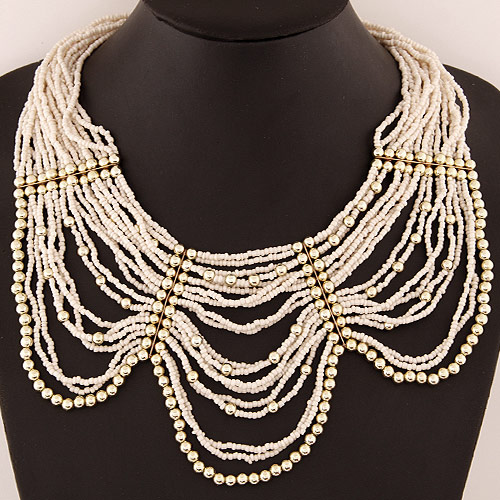 Glass Seed Beads Necklace, Zinc Alloy, with Glass Seed Beads, gold color plated, white, lead & cadmium free, 420mm, Sold Per Approx 16.54 Inch Strand