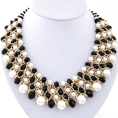 Crystal Zinc Alloy Necklace, with ABS Plastic Pearl & Crystal, gold color plated, graduated beads & faceted, lead & cadmium free, 380x36mm, Sold Per Approx 14.96 Inch Strand