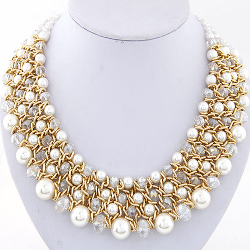 Crystal Zinc Alloy Necklace, with ABS Plastic Pearl & Crystal, gold color plated, graduated beads, lead & cadmium free, 380x36mm, Sold Per Approx 14.96 Inch Strand