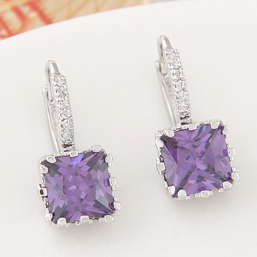 Brass Leverback Earring, Square, platinum color plated, with cubic zirconia, purple, nickel, lead & cadmium free, 20x9mm, Sold By Pair
