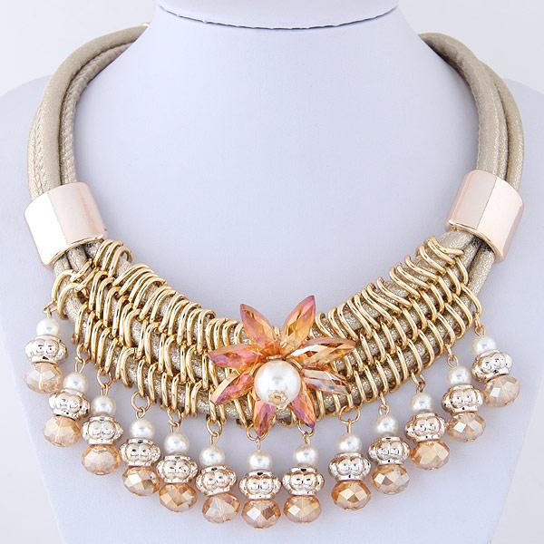 шнур ожерелье, цинковый сплав, с ABS пластик жемчужина & Искусственная кожа & Кристаллы, плакирован золотом, 400*u5f27u5ea6120*60mm, Продан через Приблизительно 15.75 Strand
