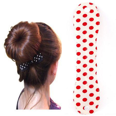 Твистер для создания красивой гульки, ткань, с круглой пятно узором, красный, 250-48mm, продается PC