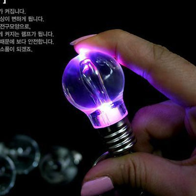 Key Chain, Glass, with iron ring, Light Bulb, LED, 88x28mm, Hole:Approx 25mm, Sold By PC
