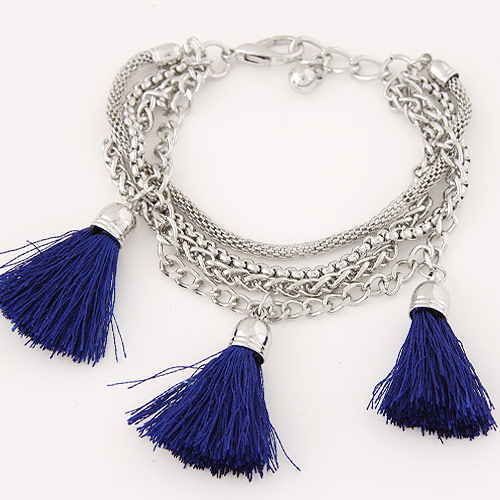 Zinc Alloy Bracelet with iron chain   Nylon Tassel platinum color plated charm bracelet dark blue lead   cadmium free 35mm Sold Per Approx 7.09 Inch Strand