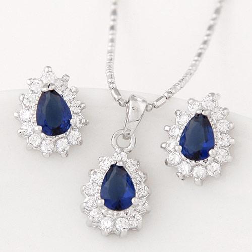 Cyrkonia mikro utorować Zestawy biżuterii mosiądz, kolczyk & naszyjnik, Łezka, Platerowane w kolorze platyny, z sześcienną cyrkonią, niebieski, bez zawartości niklu, ołowiu i kadmu, 12mm, długość:około 15.75 cal, sprzedane przez Ustaw