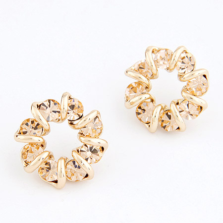 Rhinestone Earring, Zinc Alloy, with Czech Rhinestone, real gold plated, lead & cadmium free, 20mm, Sold By Pair