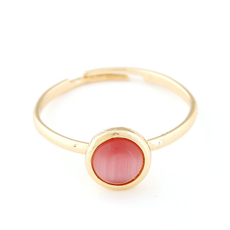 Cats Eye Finger Ring Zinc Alloy with Cats Eye Flat Round gold color plated red lead   cadmium free 8mm US Ring Size:6-9