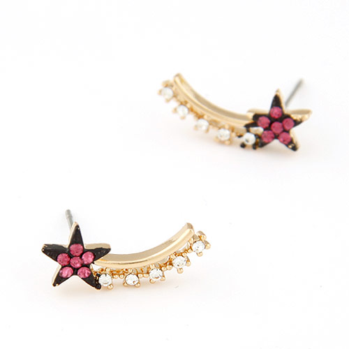 Rhinestone Earring, Zinc Alloy, gold color plated, with Czech rhinestone, lead & cadmium free, 20x7mm, Sold By Pair