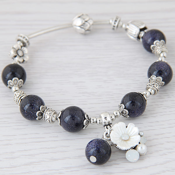 Zinc Alloy Bracelet with Blue Goldstone antique silver color plated charm bracelet   for woman lead   cadmium free 175x10mm 13mm Sold Per 6.89 Inch Strand