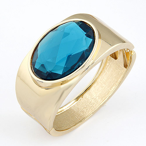 Zinc Alloy Bangle with Glass gold color plated lead   cadmium free 68x60x34mm Inner Diameter:Approx 60mm Length:Approx 7.5 Inch