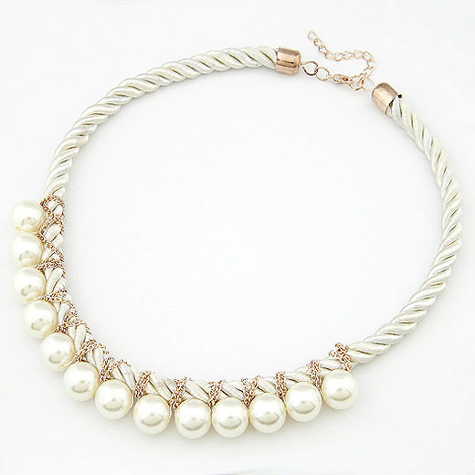 Plastic Pearl Necklace, Zinc Alloy, with ABS Plastic Pearl, gold color plated, lead & cadmium free, 400x180x14mm, Sold Per Approx 15.75 Inch Strand