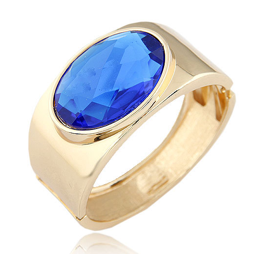 Zinc Alloy Bangle with Glass gold color plated blue lead   cadmium free 68x60x34mm Inner Diameter:Approx 68x60mm Length:Approx 8.5 Inch