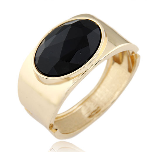 Zinc Alloy Bangle with Glass gold color plated faceted black lead   cadmium free 68x60x34mm Inner Diameter:Approx 68x60mm Length:Approx 8.5 Inch